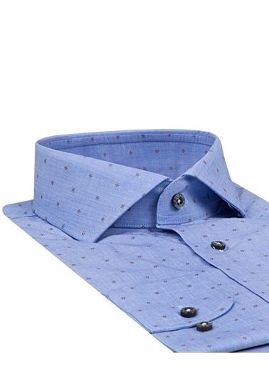 Damat Slim Fit Desenli Gömlek Mavi